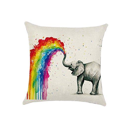 ENET Funda de Cojín de Lino para sofá o Manta de Algodón Tipo Elefante