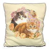 TRIOSK Kissen Katzenmotiv Katzen Frühling, Geschenk Frauen Katzenliebhaber, Dekokissen Bezug inkl. Füllung Reißverschluss, Beige Bunt, 40x40 cm