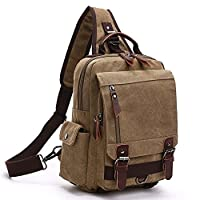 Canvas Chest Sling Shoulder Backpacks, Fresion Crossbody Messenger Bag Small Military Utility Back Pack for Mens and Women Khaki