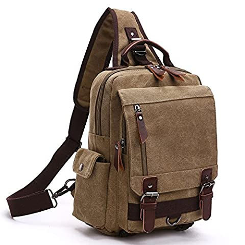 Canvas Chest Sling Shoulder Backpacks, Fresion Crossbody Messenger Bag Small