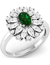 LOLLS Solid 10K Gold 0.64 TCW Round Cut Natural Diamond SI HI & Emerald Flower Designer Engagement Ring [LOLLS_GUPS0759R...