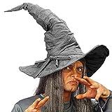 NET TOYS Cappello da Mago elaborato Stile Scamosciato - Grigio - Bellissimo Cappello da stregone per Costume Unisex - Perfetto per Travestimenti & Carnevale