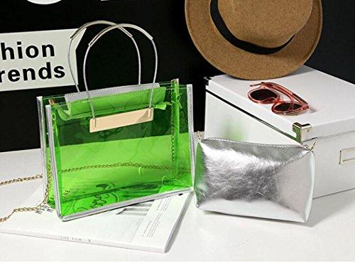 Longra Donna Sacchetto trasparente della borsa della spalla del sacchetto della spiaggia di colore della caramella della gelatina della catena del sacchetto trasparente Verde