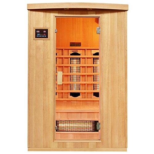 Artsauna Infrarotkabine Visby mit Vollspektrumstrahler | 2 Personen Kabine aus Hemlock Holz | 130 x 100 cm | Infrarotsauna Infrarot Wärmekabine -