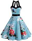 Dresstells® Halter 50s Rockabilly Polka Dots Audrey Dress Retro Cocktail Dress Floral XS
