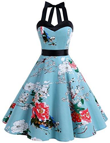 Dresstells Neckholder Rockabilly 1950er Polka Dots Punkte Vintage Retro Cocktailkleid Petticoat Faltenrock Floral XL