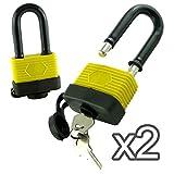 2 x lunghi Grillo Lucchetti - impermeabile/resistente - 50mm - Multi-Purpose lunghe Grillo Lucchetti con 2 chiavi - Ideale per l'uso esterno/Garage / Capannoni