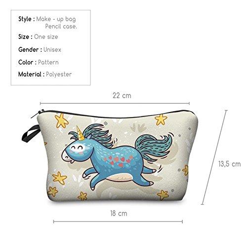 Kukubird Divertimento Nuovo Animale Foto Modello Stampa Make-up Bag Con Sacchetto Di Polvere Di Kukubird Unicorn Beige