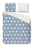 Good Morning! 5263-F 135cm blau Bettwäsche weißen Sternen, 100% Flanell, 135x200 cm, Flanell, Blau, 200 x 135 x 0, 5 cm