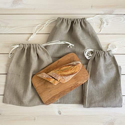 Varvara Home 3-er Pack Brotbeutel aus Bio Leinen - Brot Tasche - Leinenbeutel - Beutel Stoff Leinen - Natur