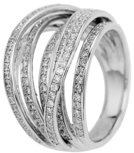 Burgmeister Jewelry Damen-Ring 925 Sterling Silber rhodiniert Zirkonia Gr. 57 (18.1) JBM2001-111-18