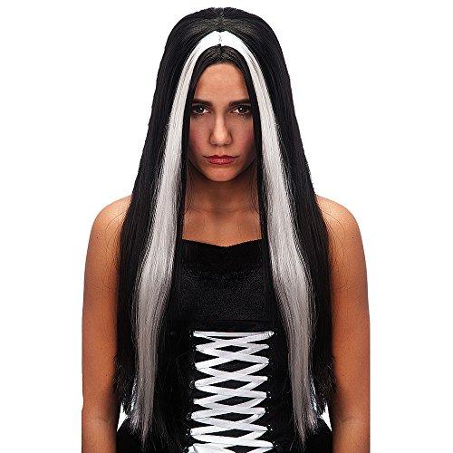 Parrucca morticia addams capelli neri lunghi lischi halloween horror