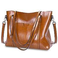 S-ZONE Women Genuine Leather Top Handle Satchel Daily Work Tote Shoulder Bag Large Capacity (Brown)