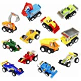 Babytintin Unbreakable ABS Plastic Pull-Back Friction Powered Racing Cars, Engineering Construction & Multi Utility Vehicle, Automobile Toy Set (Multi-color) (Set Of 12) (6 Race Cars + 6 Construction Trucks) (1218) (B)