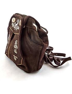 Trachten-Rucksack Trachtentasche Dirndltasche Wildleder dunkelbraun mit Trachtenstickerei