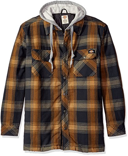 Dickies Men's Relaxed Fit Hooded Yarn Dye Plaid Shirt Jacket, Dark Navy/Brown Duck, M (Brown Hooded Duck Jacket)