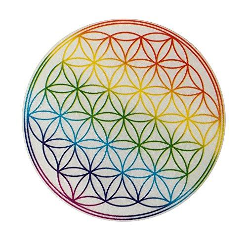 East-West Trading - Pegatinas, 50 unidades, diseño de la flor de la vida con los colores del arcoíris