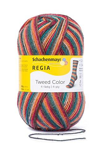 REGIA 4-fädig Tweed Color 9801247-07493 herbstlaub Handstrickgarn, Sockengarn, 100g Knäuel -