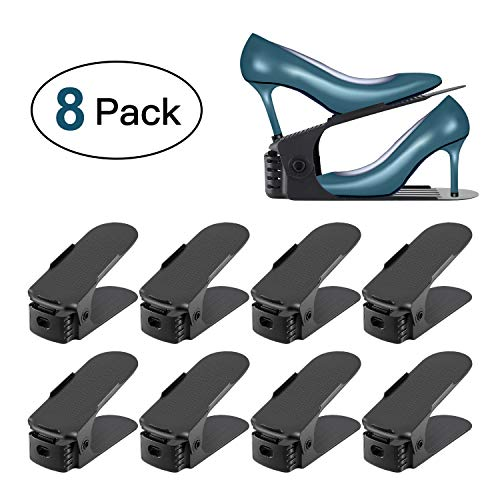 Portascarpe, 8pezzi Organizzatore Salvaspazio Scarpe, Creativo Durevole Regolabile Scarpiera Salvaspazio Plastica Shoe Organizer, Scarpe Salvaspazio Holder Shoe Rack, Ideale per Scarpiera/Armadio/Mobili Set- Nero