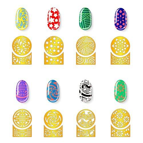 LEEQ 288 Stück 72 Designs Gold Nail Vinyl Nail Schablonen Sticker Bogen Set für kreisförmig hohl Nail Art Design 24 Blatt