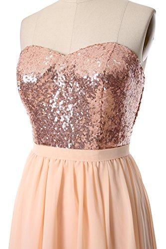 MACloth Gorgeous Hi Lo Bridesmaid Dress Sequin Chiffon Wedding Party Formal Gown Black