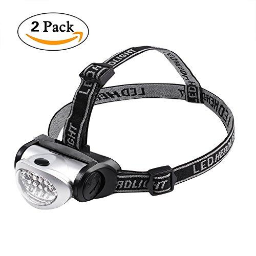 Giwil 2 Stück LED Stirnlampe mit Rotlicht - Sehr hell, leicht und bequem, leicht zu benutzen - LED Kopflampe Perfekt fürs Joggen, Gehen, Campen, Lesen Laufen, für Kinder und mehr