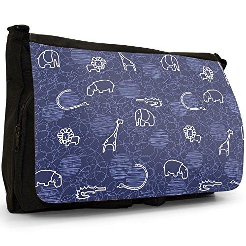 Giraffa, Leone, Elefante e Ippopotamo disegno grande borsa a tracolla Messenger Tela Nera, scuola/Borsa Per Laptop blu