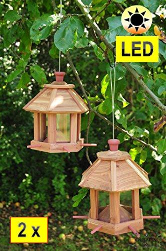 2x Vogelhäuschen Futterhaus, Vogelhaus Futterstation,mit Beleuchtung Garten - mit LED-Licht,romantischer Lichteffekt im Doppelpack, mit 6 x Futterdosierer und Silo,Nistkasten -,LED-Licht mit Ein-Aus-Schalter NATURFARBEN,BEL-natur Vogel MIT-Futterstation Farbe natur