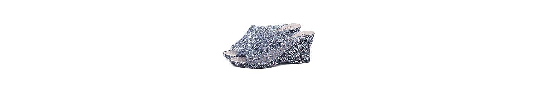 Pendiente Azul con Sandalias arrastradas Lady'S Summer Fish Boca Alta y Gruesa Pantuflas Inferiores Plástico Crystal... -