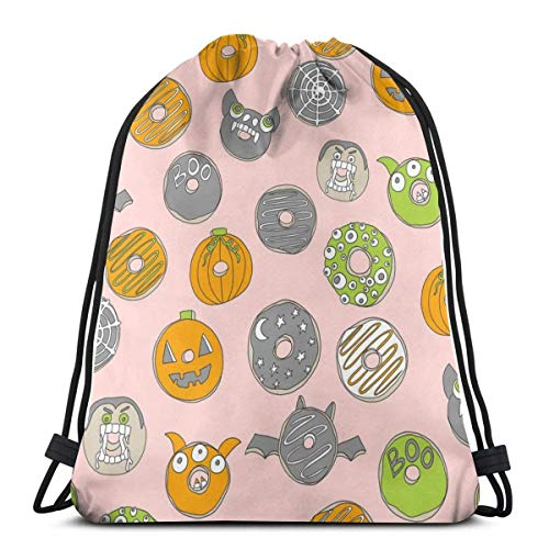 Halloween Donuts Fall Autumn Food Cute Spooky Scar Special Backpack Sack Bag Gym Bag for Men & Women 17 X 14 Inch