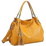 sonyabecca Mujer de Suave Piel Auténtica Bolso Cruz Cuerpo Bolsa de hombro con borla, naranja (naranja) - B-WSB047