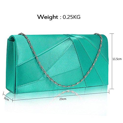 Damen Geldbörsen Designer Satin Geldbörse Klappe Zu Ende Kreuz Körper Tasche Magnetisch Schließung Mit Lange Kette A - Smaragd