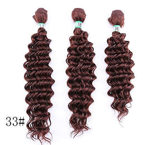 FUBULECY Rotbraune Kunsthaar-Deep Wave-Haarverlängerungen Mischlängen Hitzebeständige Faser (Farbe : Red-Brown, Size : 16