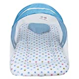 Superminis Multicolor Dot On White Base Design Bedding Set Thick Base, Foldable Mattress, Heart Shape Pillow and Zip Closure Mosquito Net (6-12 Months, Sky Blue)