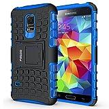 Pegoo Galaxy S5 Mini Hülle, Dual Layer Hybrid Harte Rüstung Handyhülle Drop Resistance Handys Schutz Hülle für Samsung Galaxy S5 Mini (Blau)