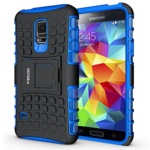 Custodia Galaxy S5 mini,Pegoo Cover Galaxy S5 mini Ultra Slim armatura antiurto Copertura Cassa Custodia Silicone cover Case supporto stabile Protettiva Shell per Samsung Galaxy S5 mini Blu