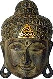 Buddha - Maske GOLD, handgearbeitete Holz-Maske aus Bali, Wandmaske, Grösse:25 cm