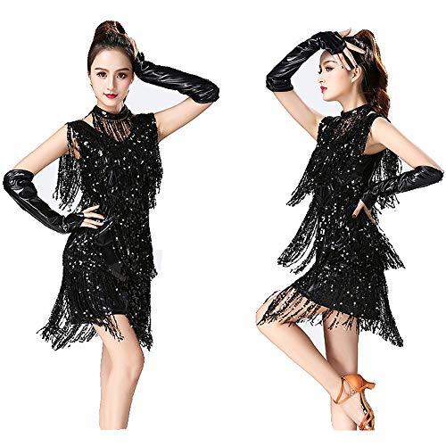 Metallic Pailletten Quasten Ballsaal Samba Tango Latin Dance Kleid mit Hand Ärmeln Halskette Kostüme Einfach und elegant (Farbe : Schwarz, Größe : - Einfache Kostüm Mit Schwarzem Kleid