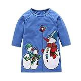 Babykleider,Sannysis Baby Mädchen Festlich Kleid Kleinkind Kinder Weihnachten Cartoon Schneemann Print Kleider Outfits Xmas Kleidung