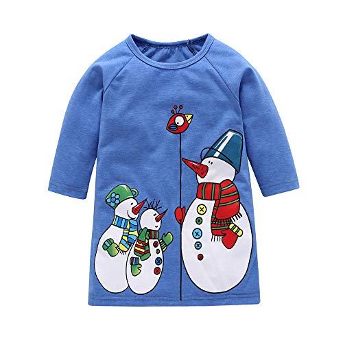 Beikoard Kleinkind Baby Kinder Mädchen Weihnachten Weihnachten Cartoon Schneemann Print Kleider Outfits Taufbekleidung Bekleidungssets