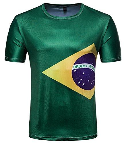 Whatlees Herren Slim Fit FIFA Fussball WM 2018 3D Druck T-Shirt Brasilien - Ba0043-21 - S