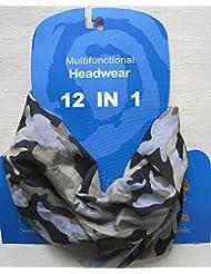 Braga para el cuello, pañuelo de microfibra multifunción, diseño de camuflaje verde y gris salvia