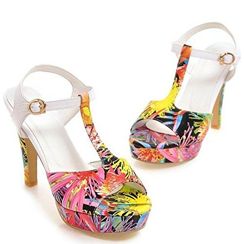 TAOFFEN Femmes Elegant Floral Sandales Bloc Talons Hauts Peep Toe T-strap Chaussures De Boucle Noir