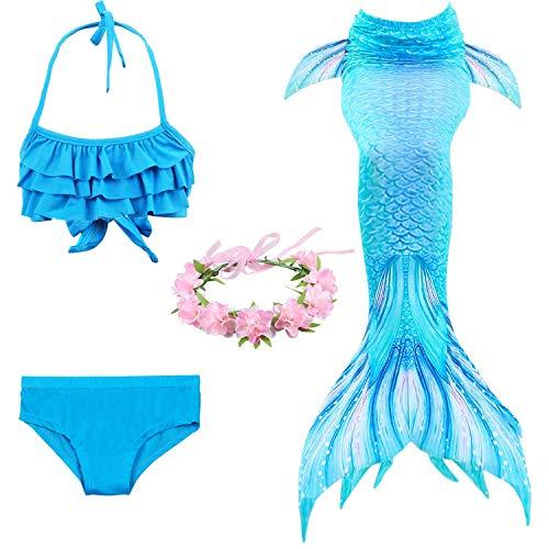 Schwimmen Schwanzflosse Monofin Kostüm Mermaid Zum - Jolie Sea-Maid MeerjungfrauenSchwänze zum Schwimmen Cosplay Badeanzug Mädchen Glänzend Mermaid Schwimmfähig Kostüm,Blue,130cm