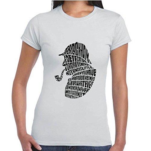 T-Shirt Donna Maglia Vintage Maniche Corte Cotone Con Stampa Sherlock Holmes, Colore: Cenere, Taglia: L