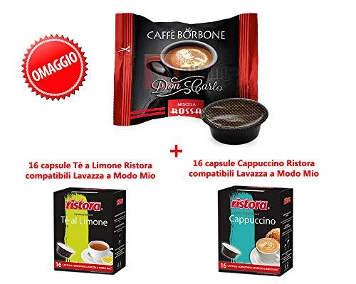 600 Capsule Caffè Borbone Don Carlo Miscela Rossa,compatibili Lavazza a Modo Mio + OMAGGIO 16+16 CAPSULE RISTORA A MODO MIO AL GUSTO DI Tè A LIMONE E CAPPUCCINO