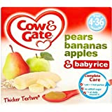 Cow & Gate Apple & Pear plus riz Fruité Dessert 4mois + (4x100g) - Paquet de 6
