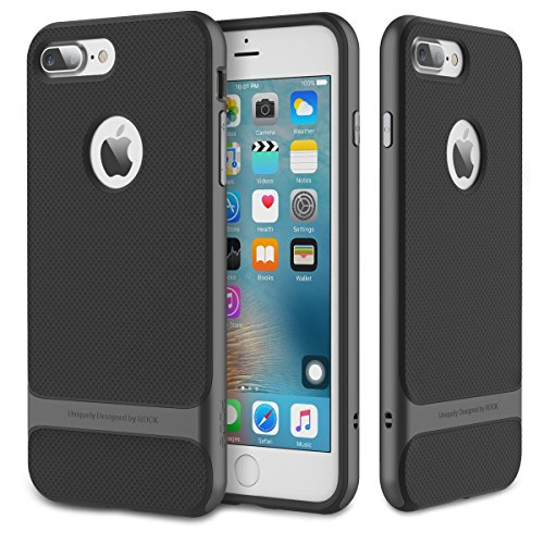 ROCK IPhone 7 Plus Fall 5.5 Zoll Schutzhülle Anti-Rutsch Anti-Kratzer harte Stoßstange Imported TPU mit High-Zähigkeit PC für Apple IPhone 7 Plus ( Color : Gray , Size : Iphone7 Plus ) Gray