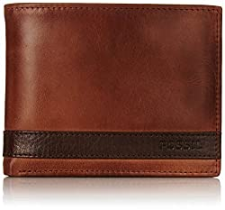 Fossil Mens Quinn L-Zip Bifold, Brown, One Size