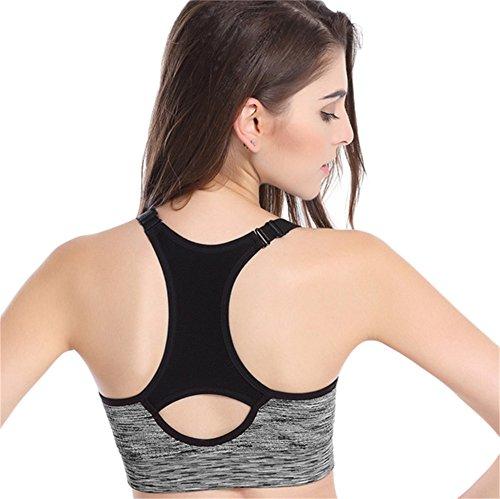zrong Femme Padded athletischer Sport Yoga Jogging Bra Top Gilet d'entraînement Gris - Gris